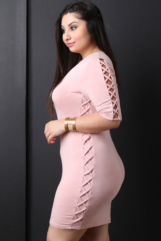 Plus Size Lattice Side Caged Bodycon Dress