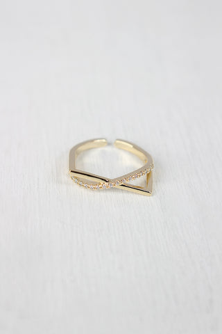 Rhinestone Accent Bar Ring