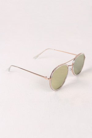 Wire Framed Mirrored Lens Sunglasses