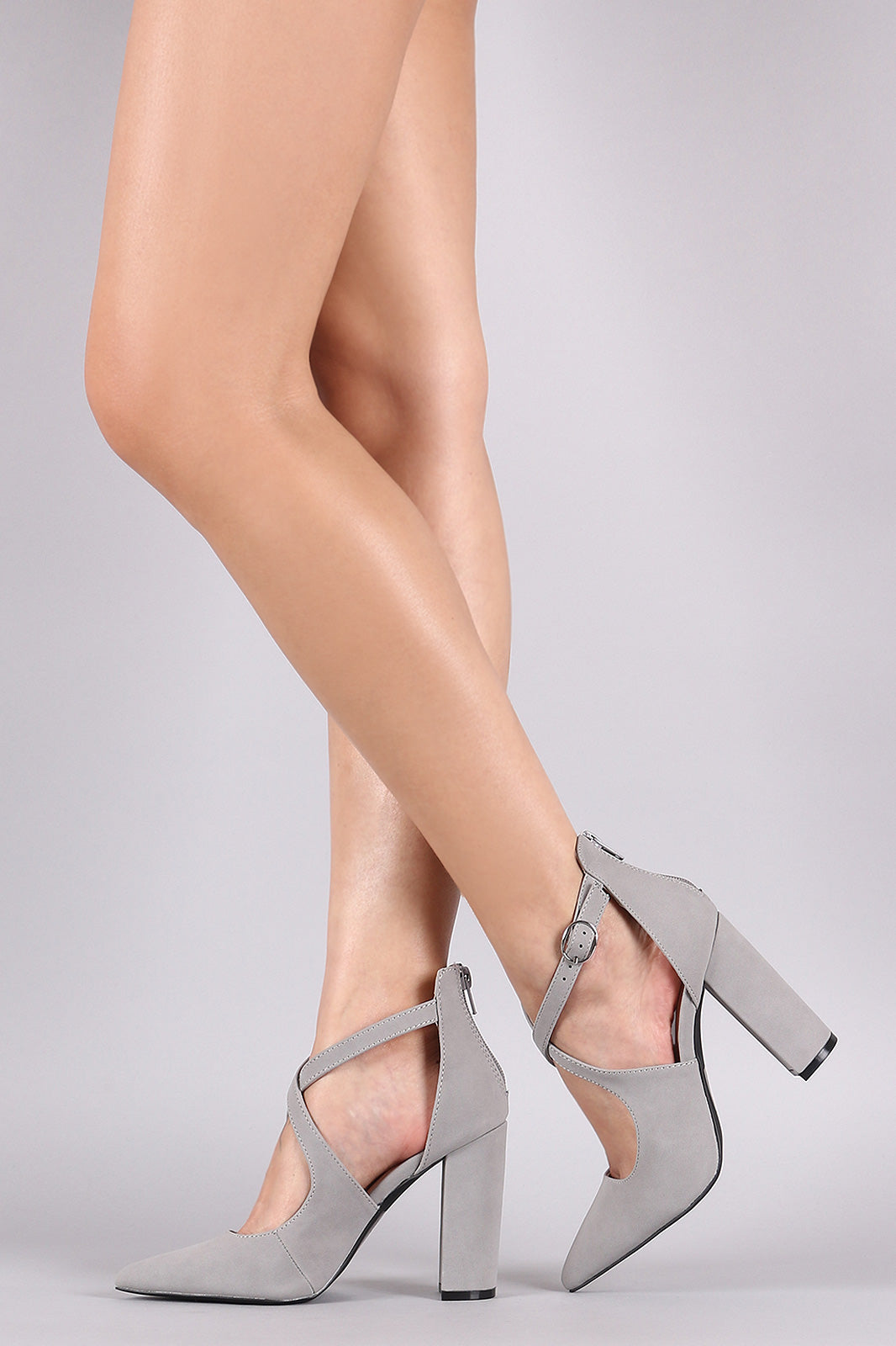 Qupid Nubuck CrissCross Pointy Toe Chunky Heeled Pump
