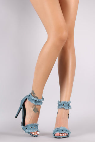 Grommets Embellished Ankle Strap Frayed Denim Stiletto Heel