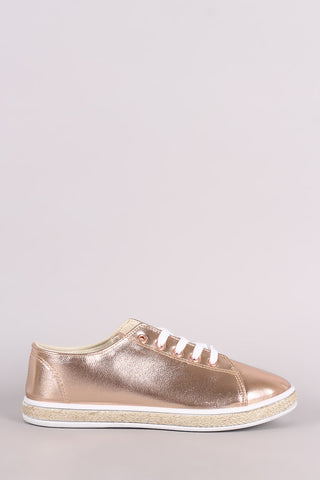Bamboo Metallic Lace Up Low Top Braided Jute Trim Sneaker