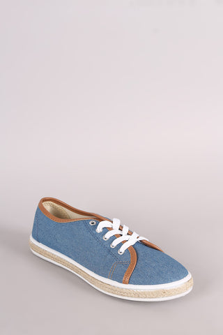 Bamboo Denim Lace Up Low Top Braided Jute Trim Sneaker