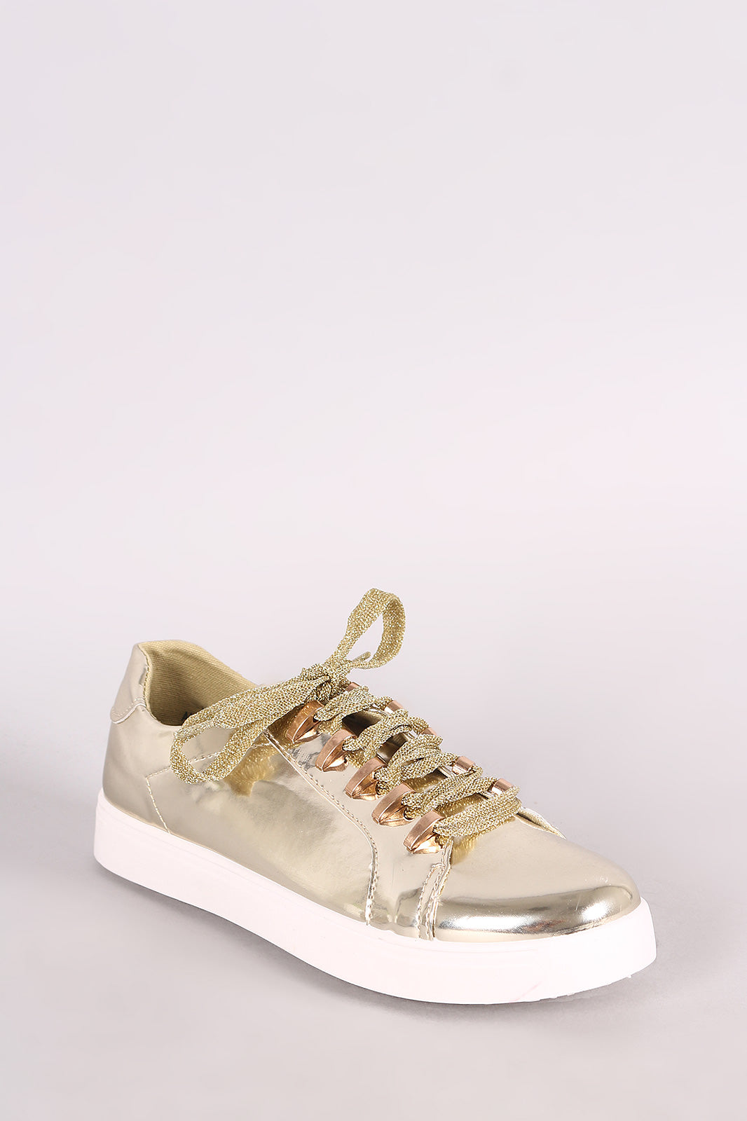 Bamboo Mirror Metallic Low Top Lace Up Sneaker