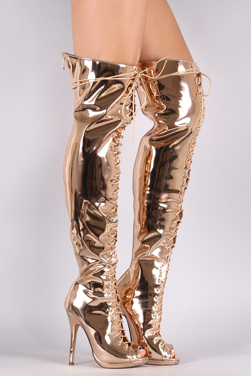 Liliana Mirror Metallic Lace Up Stiletto Over-The-Knee Boots