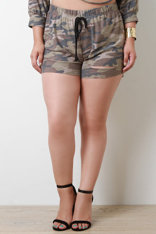 Distressed French Terry Camouflage High Rise Shorts