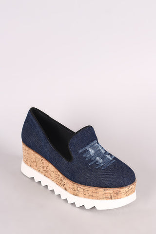Bamboo Distressed Denim Lug Sole Loafer Platform Wedge