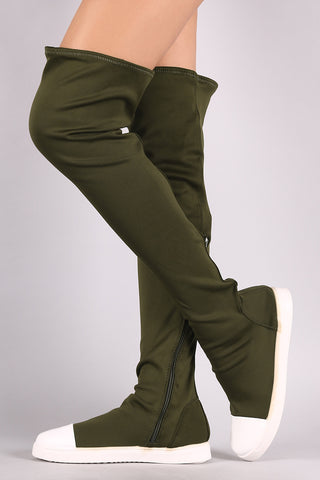 Bamboo Elastane Contrast Cap Toe Over-The-Knee Sneaker Boots