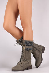 Qupid Shearling Cuff Combat Lace Up Boots