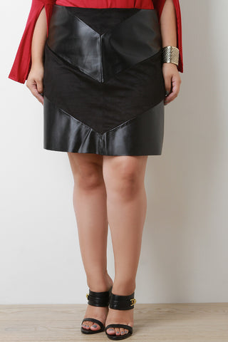Vegan Leather and Suede Chevron Skirt