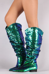 Slouchy Holographic Sequin Pointy Toe Western Knee High Boots