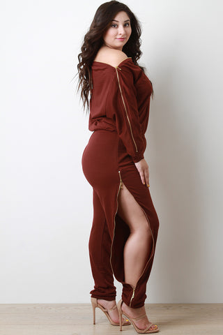 Adjustable Zipper Trim Bateau Long Sleeves Jumpsuit