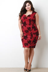 Velvet Floral Sweetheart Sculpture Dress