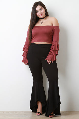 High Waisted Ruffled Bell Bottom Pants