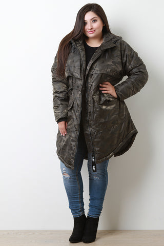 Camouflage Hooded Puffer Parka