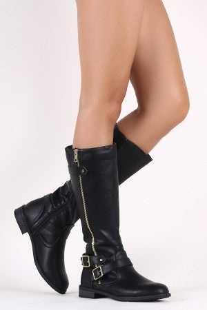 Zipper And Buckle Accent Riding Knee High Boots