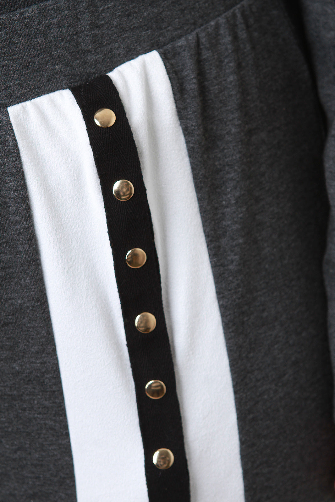 Stripe Snap Buttons Long Sleeves Sweatshirt