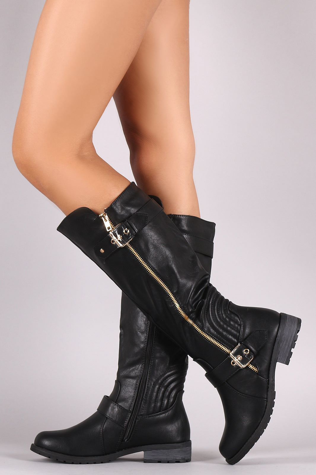 Zipper And Buckle Trim Riding Knee High Boots