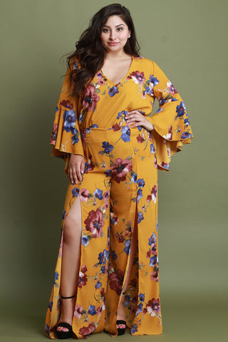 Floral Print Slit Wide Leg Pants
