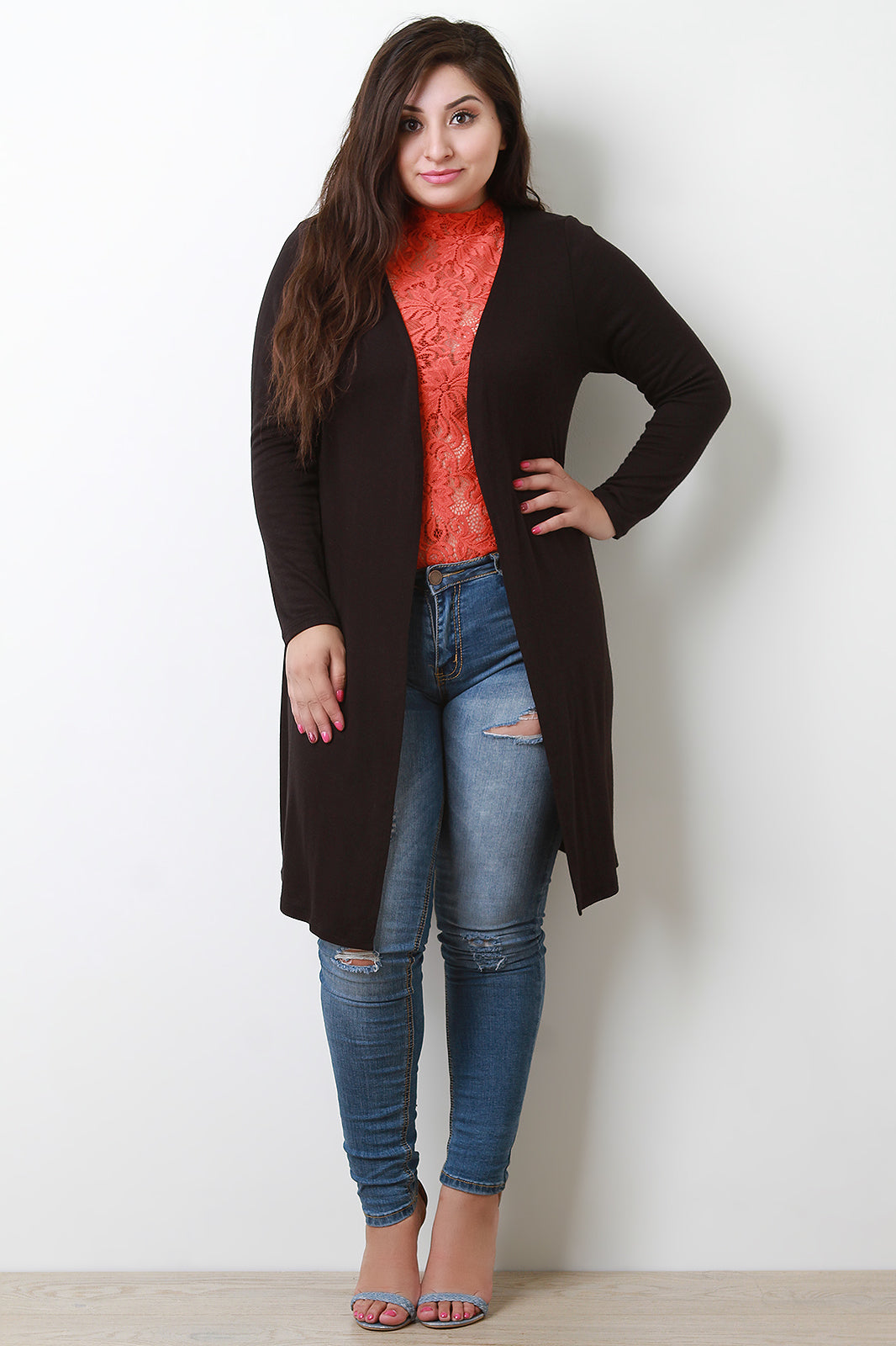 Soft Knit Open Front Side Slits Cardigan