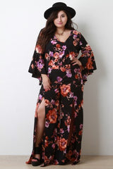 Floral Print Ruffled Sleeves Top With Slit Wide Leg Pants Set