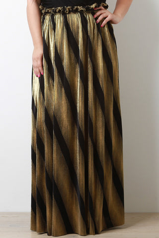 Accordion-Pleated Metallic Stripe Maxi Skirt