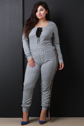 Sporty Stripe Trim Long Sleeves Top With Jogger Pants Set