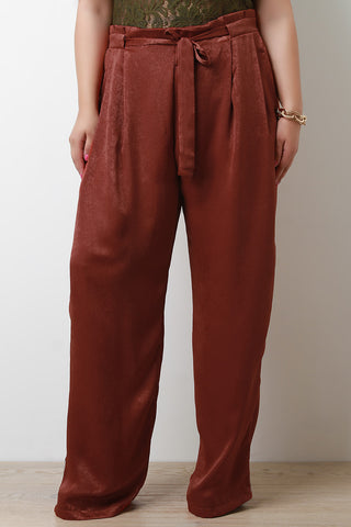 Satin Waist Sash Wide Leg Pants