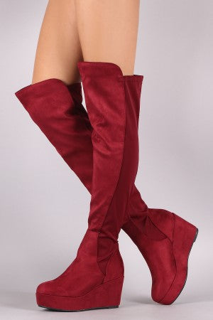 Suede Elastane Back Panel Over-The-Knee Platform Wedge Boots