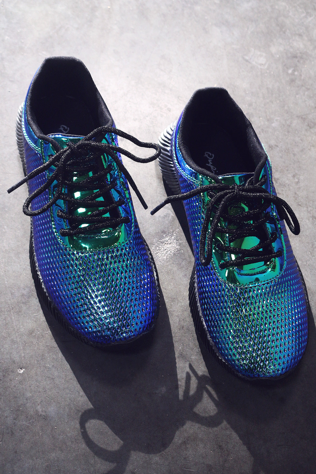 Qupid Textured Metallic Holographic Lace Up Sneakers