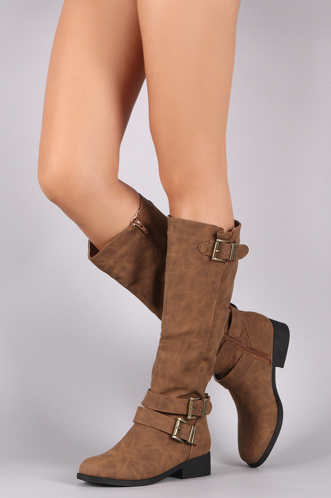 Qupid Triple Buckled Strap Riding Knee High Boots