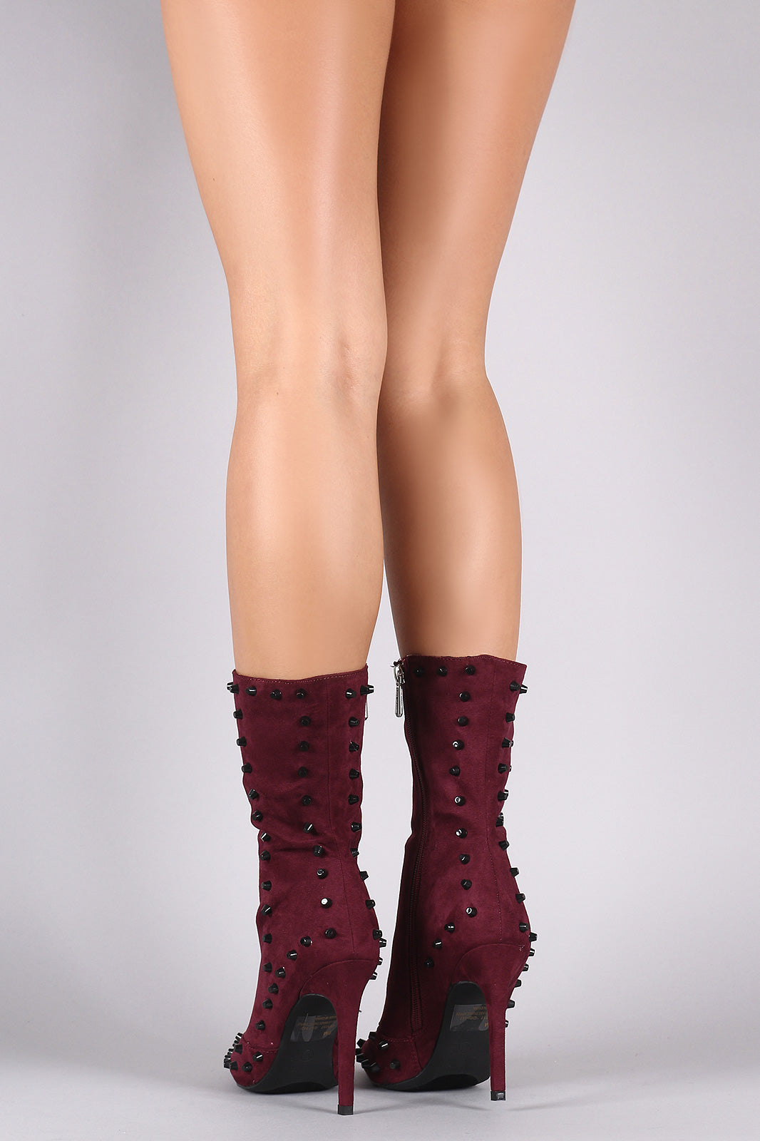 Studded Vegan Suede Pointy Toe Mid Calf Boots