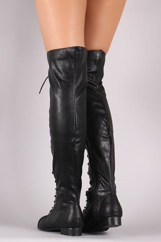 Almond Toe Lace Up Combat Over-The-Knee Boots