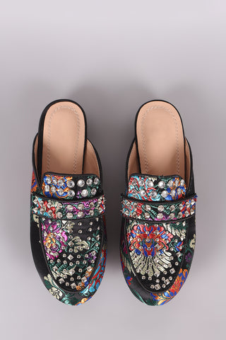 Embroidered Floral Studded Mule Flats