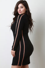 Glitter Striped Sleeves Bodycon Mini Dress