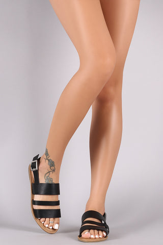 Leather Open Toe Triple Band Slingback Flat Sandal