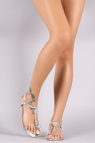 Liliana Metallic Rhinestone Toe Ring Flat Sandal