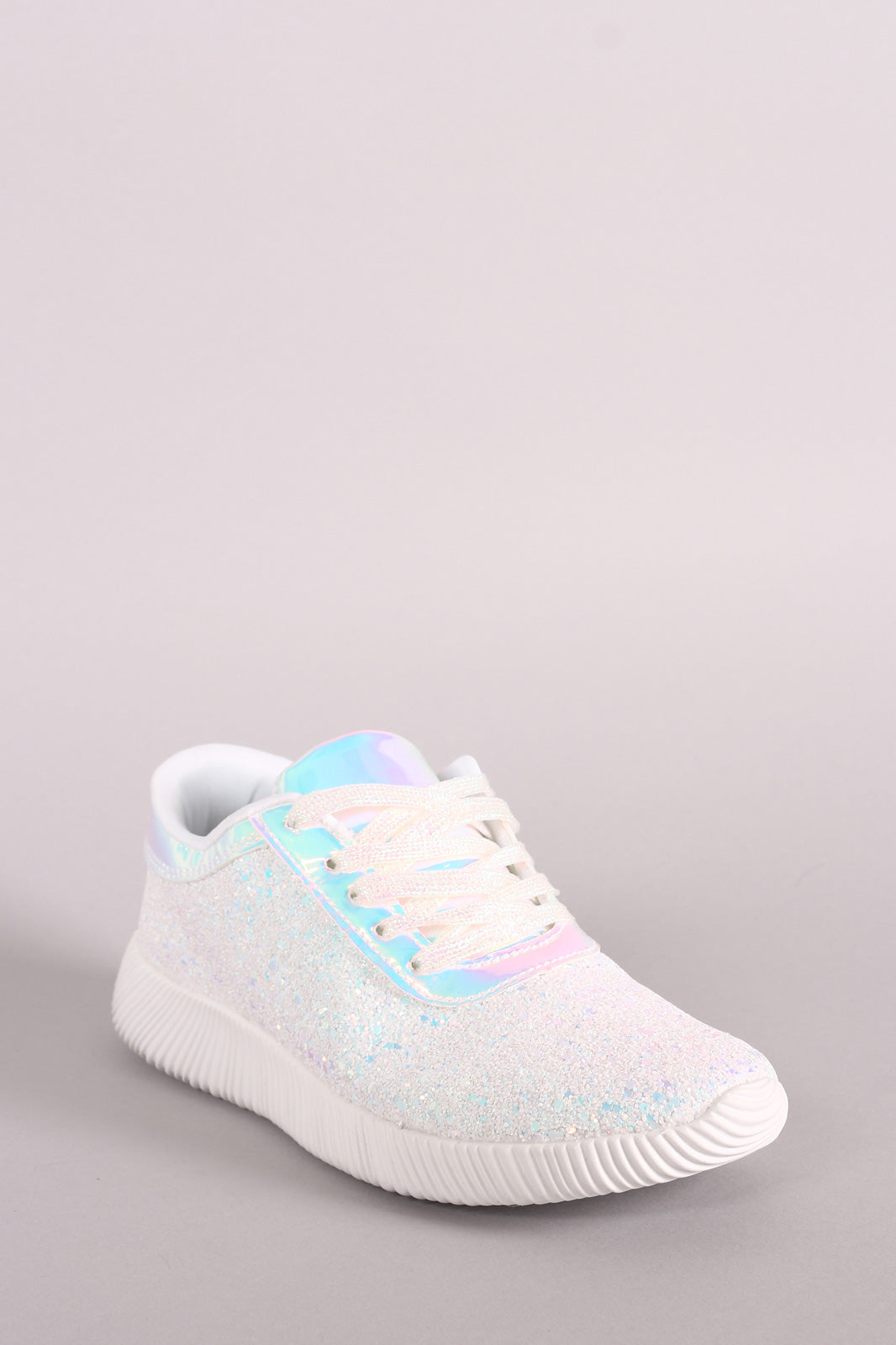 Holographic Ridge Sole Glitter Lace Up Sneakers