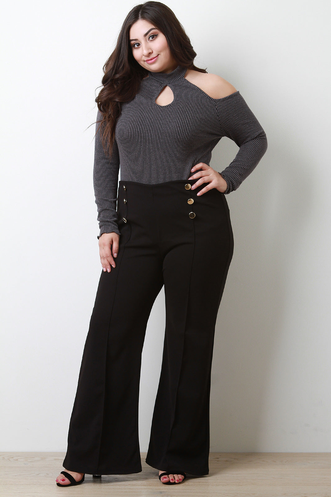 Ribbed Knit Cold Shoulder Mock Neck Keyhole Top
