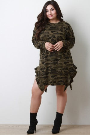 Camouflage Side Ruffle T-Shirt Dress