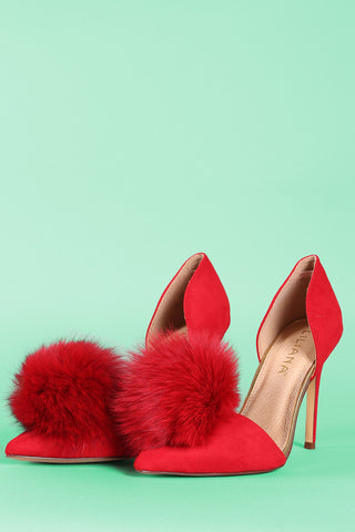 Liliana Suede Pompom Pointy Toe Dorsay Pump
