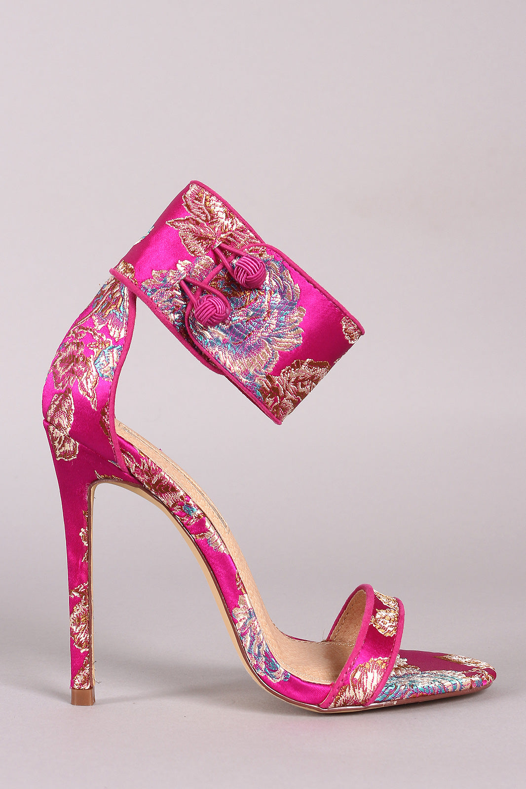 Liliana Floral Satin Ankle Cuff Single Sole Stiletto Heels
