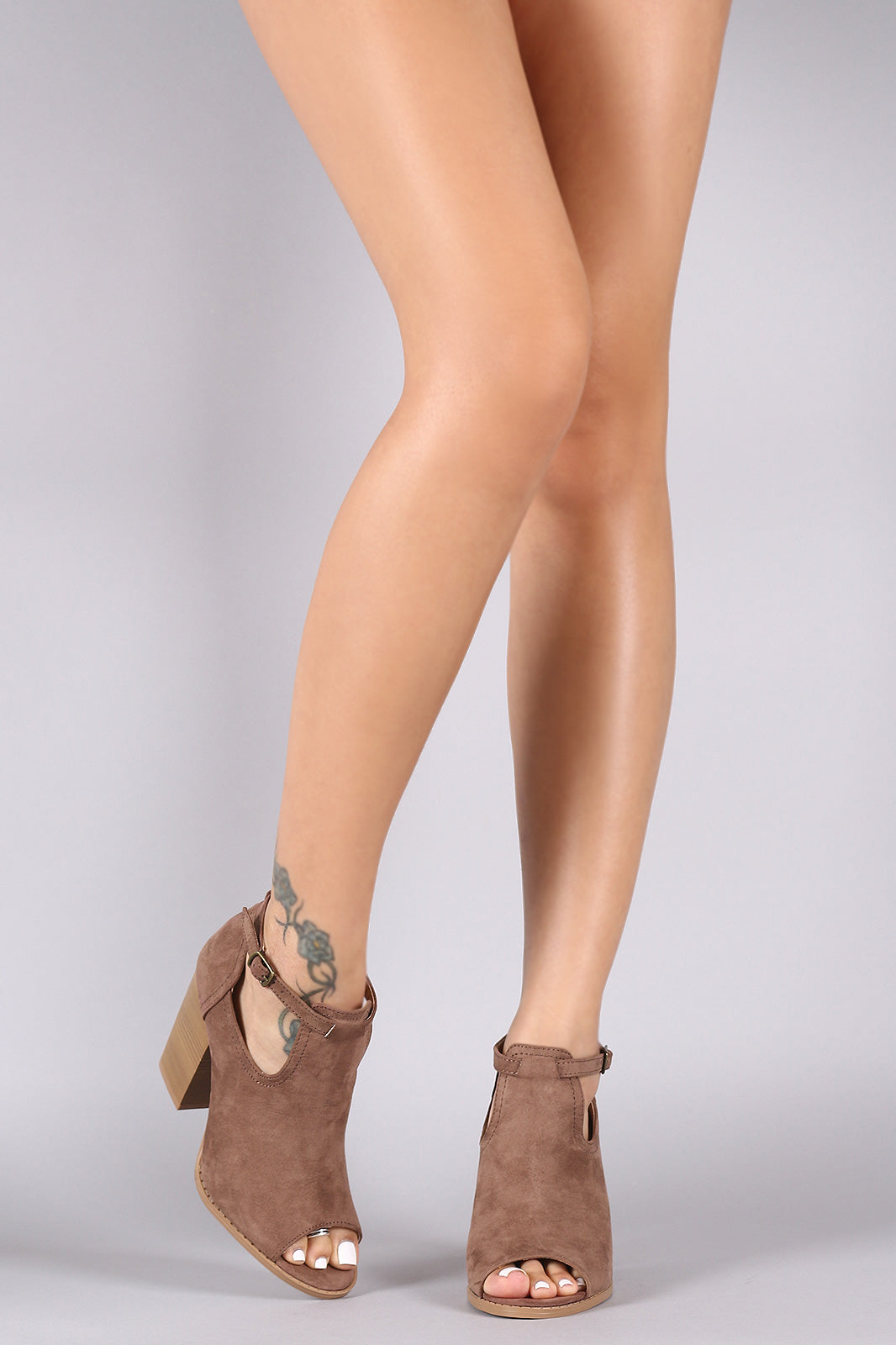 Qupid Suede Peep Toe Chunky Heeled Booties