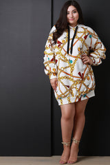 Chain Print Ruched Sleeve Hooded Sweatshirt Dress