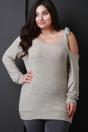 Asymmetrical Cold Shoulder Marled Knit Sweater Top