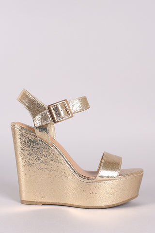 Bamboo Cracked Metallic Ankle Strap Platform Wedge