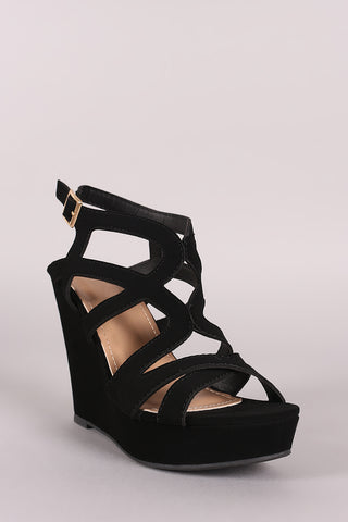 Nubuck Caged Open Toe Platform Wedge