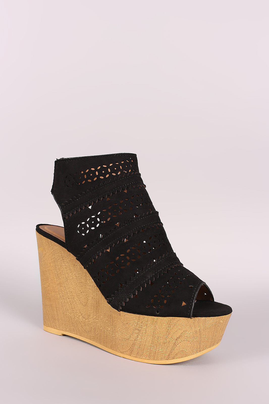 Qupid Perforated Cage Wooden Platform Wedge