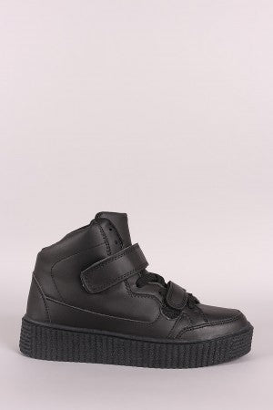 Hook And Loop Lace Up Creeper High Top Flatform Sneaker