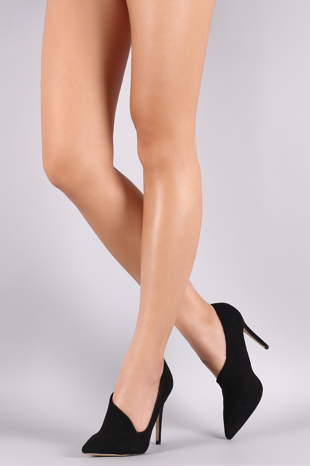 Suede Pointy Toe Asymmetric Pointy Toe Pump